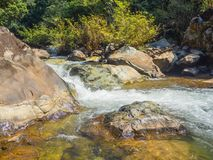 Mountain fast flowing river stream of water in the rocks.  Royalty Free Stock Photos