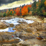 Mountain fast flowing river stream of water in the rocks at autu Royalty Free Stock Images