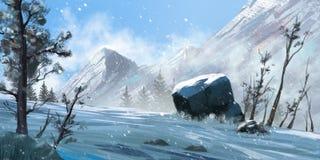 Mountain. Fiction. Concept Art. Realistic Style. Video Game Digital CG Artwork, Concept Illustration, Realistic Cartoon Style Scene Design stock illustration