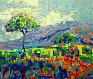 Mountain field expressionism painting. Texture closeup Royalty Free Stock Photos