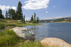 Mountain fishing lake Royalty Free Stock Photo