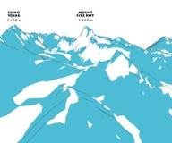 Mountain Fitz Roy, height relief, mountains,. Mountain Fitz Roy height relief, mountains, Patagonia, Chile stock illustration