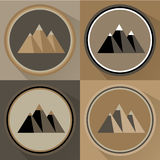 Mountain flat icon set. Vector illustration Royalty Free Stock Images