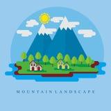 Mountain flat vector background. Mountain vector illustration in flat trendy design Stock Photos
