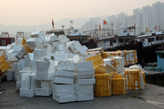 A mountain of foam waste Stock Images