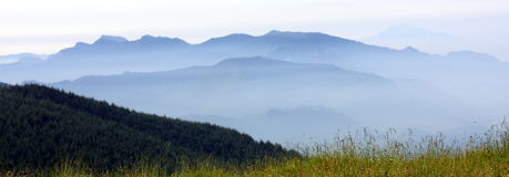 Mountain in fog. Colorful mountain landscapes with fog in fall in Great Smoky Mountain National park Royalty Free Stock Photography
