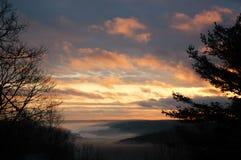 Mountain fog. Sunset after rainstorm - massachusetts, usa Royalty Free Stock Photos