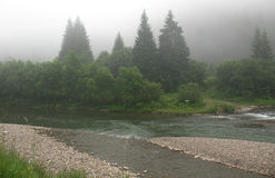Mountain fog. Fog above the mountain river, confluence of two rivers Stock Image