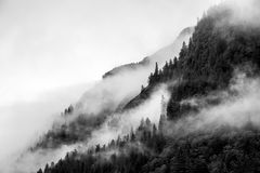Fog covering the mountain forests with low cloud in Juneau alaska for fog landscape Royalty Free Stock Images