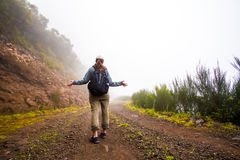 Fog. Covered poor visibility mountain path trail Royalty Free Stock Images