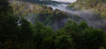 Mountain Fog. Morning fog floating in the valley near Lansing, North Carolina Stock Image