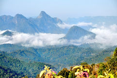 Mountain and fog. In the morning at Tak ,Thailand Stock Photos
