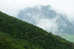 Mountain with fog Stock Image