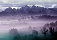 Mountain foggy landscape Royalty Free Stock Images