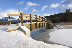 Mountain Footbridge in Winter 2. A footbridge over a stream in a mountain meadow Royalty Free Stock Photography