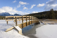 Mountain Footbridge in Winter Stock Image
