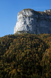 Mountain and forest at autumn. Mountain and forest of fir tree and deciduous trees in autumn in Aravis, France Royalty Free Stock Images