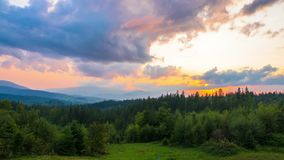 The Mountain Forest on Background of Sunset stock footage