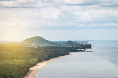 The mountain with forest and beach curve beside sea,Landscape. The mountain with forest and beach curve beside nthe sea,Landscape royalty free stock photos