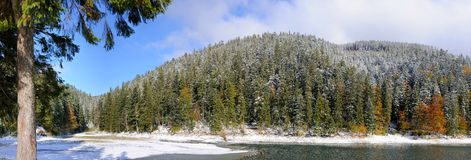 Mountain forest with first winter snow. Mountain forest and lake with first winter snow Royalty Free Stock Photos