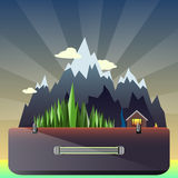 Mountain forest and hunting lodge in the suitcase. Illustration mountain forest and hunting lodge in the suitcase on the background of the dawn Royalty Free Illustration