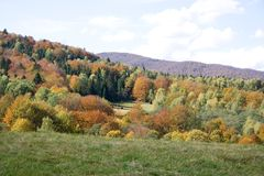 Mountain Forest In Autumn In Poland Stock Photo