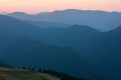 Mountain forest on ridge at dawn sky background Royalty Free Stock Images