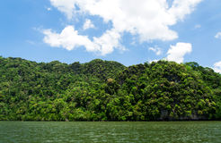 Mountain forest and sea water on White cloud on blue sky Stock Photo