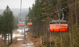 Mountain forest with ski lift Stock Image
