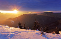 Mountain and forest at winter with sun rays Royalty Free Stock Photos