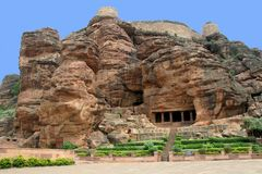 Mountain, Fort and Cave. Fort atop rocky mountain and first cave temple at Badami, Karnataka, India, Asia Stock Images