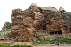 Mountain, Fort and Caves. Fort atop rocky mountain and cave temples at Badami, Karnataka, India, Asia Royalty Free Stock Photo