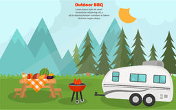 Mountain fresh air barbeque time banner for web and mobile design. Mountain fresh air barbeque time banner Royalty Free Stock Image