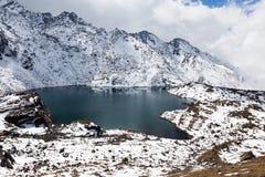 Mountain frozen lake, snow covered Gosaikunda ridge peaks. Royalty Free Stock Images