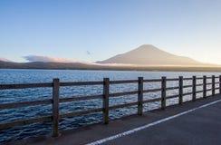 Mountain Fuji and beautiful evening sky at Yamanakako lake Stock Photo