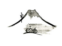 Mountain Fuji and bike, japanese art, vector Royalty Free Stock Images