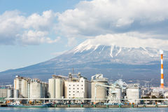 Mountain Fuji and Factory Stock Photo