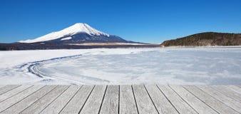 Mountain fuji and Ice lake in winter at Yamanakako lake Royalty Free Stock Photo