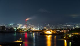 Mountain Fuji and industry factory at night Royalty Free Stock Photo