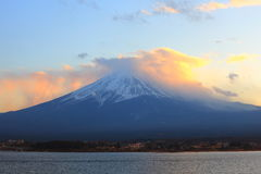 Mountain Fuji, Japan. Sunset clouds cover the top of mount Fuji, Japan Royalty Free Stock Images