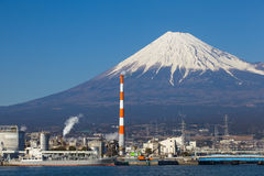 Mountain Fuji and Japan industry zone from Shizuoka. Prefecture Stock Photos