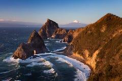 Mountain fuji and Japan sea in winter Stock Image