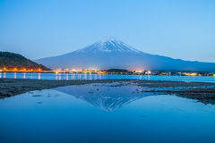 Mountain fuji and Kawaguchi lake at night. Beautiful Mountain fuji and Kawaguchi lake at night royalty free stock photos