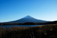 Mountain fuji with Kawaguchiko lake ,Japan royalty free stock photography
