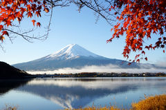 Mountain Fuji Kawaguchiko lake Japan with red maple leaf Royalty Free Stock Photography