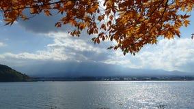 Mountain fuji with lake kawaguchi stock video footage