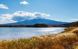 Mountain Fuji and lake kawaguchi. In Japan royalty free stock images