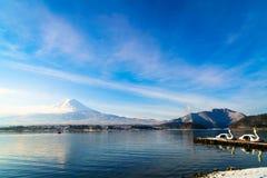 Mountain fuji and lake kawaguchi, Japan . stock image