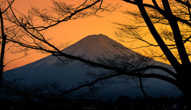 The mountain Fuji and lake kawaguchi at sunset. Stunning view of mountain Fuji and lake kawaguchi at sunset stock image