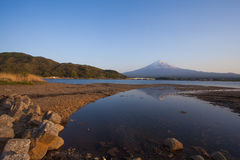 Mountain fuji and Lake kawaguchiko in evening Stock Image